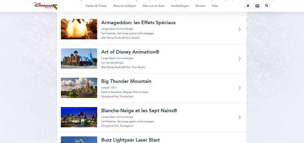 Attracties Disneyland Parijs