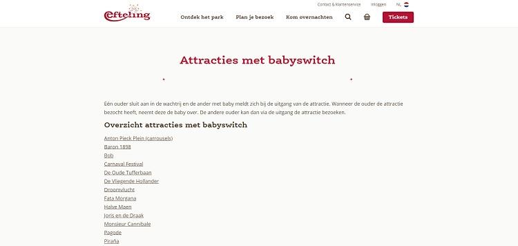 Attracties met een babyswitch bij de Efteling
