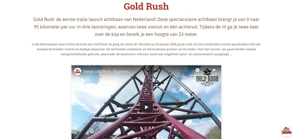 Gold Rush attractie Slagharen