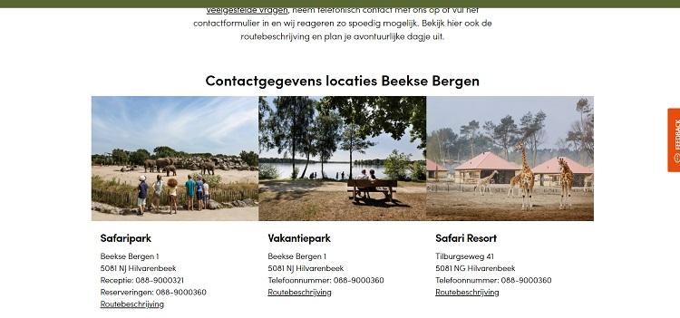 Safaripark Beekse Bergen adres