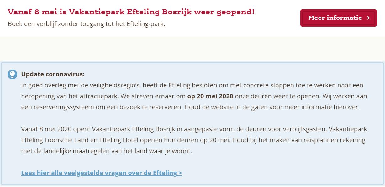 Update coronavirus Efteling